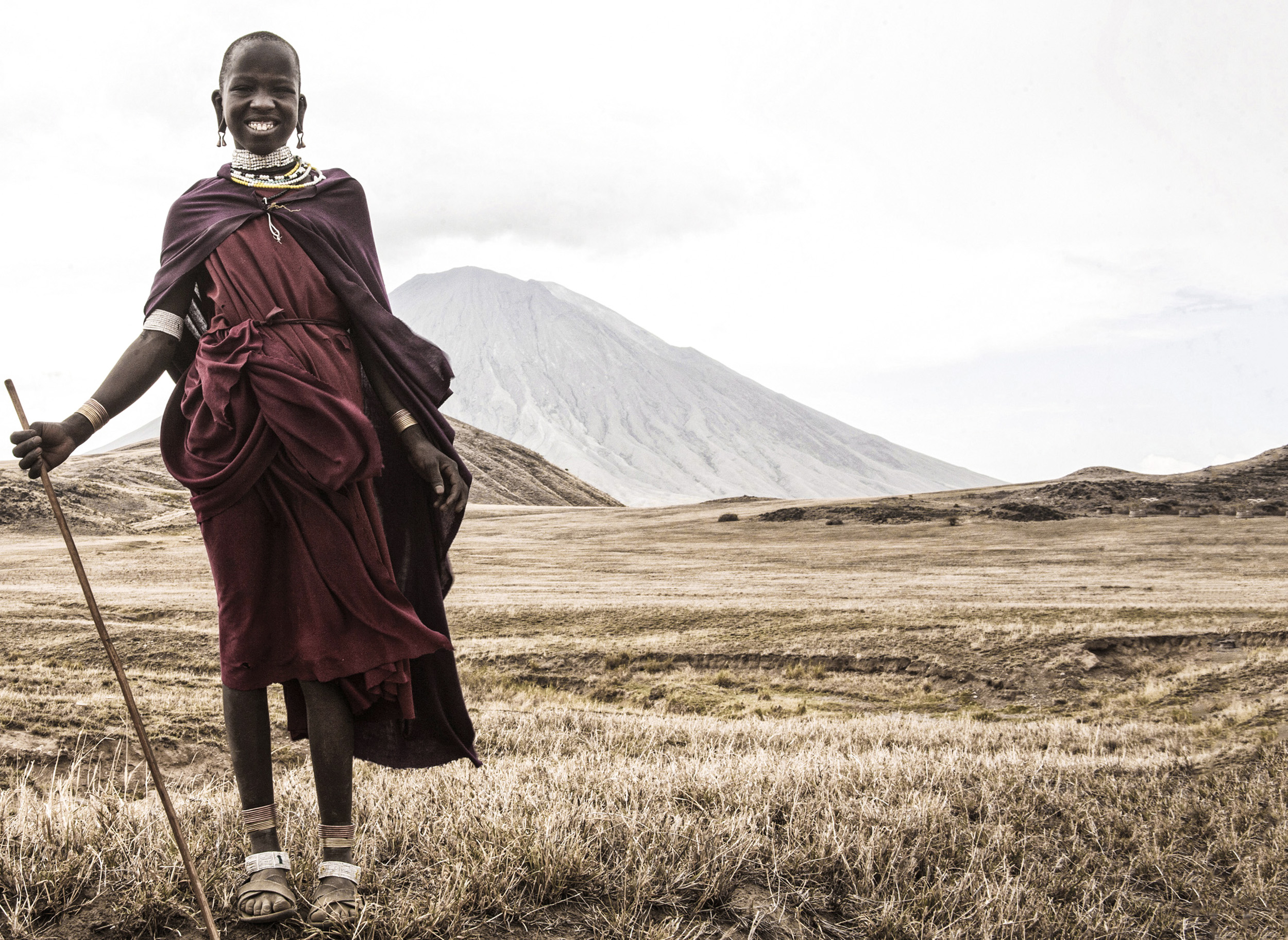 A Masai tribeswoman in Ol Donyoi Lengai, Tanzania, East Africa');
